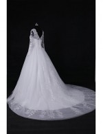 2017 Ball Gown Wedding Dress Court Train Jewel Lace Tulle With Appliques Beading Sequin