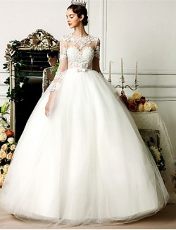 Ball Gown Wedding Dress Long Floor Length Jewel Tulle With Bow Lace Beading