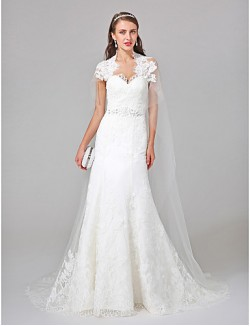 Nz Bride® A Line Wedding Dress Watteau Train Queen Anne Tulle With Appliques Beading Lace
