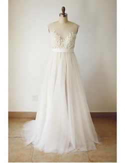 A Line Plus Sizes Dresses Petite Wedding Dress Chic Modern Wedding Dresses In Color Sweep Brush Train Scoop Tulle WithBeading Button