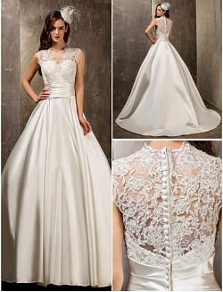 Nz Bride® Linha A Princesa Pequeno Tamanhos Grandes Vestido De Noiva Elegante E Luxuoso Glamouroso E Dramático Cauda Escova