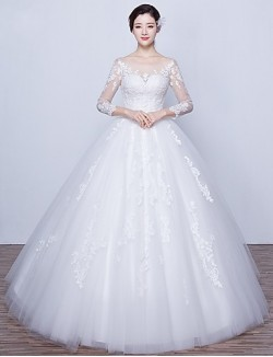 Ball Gown Wedding Dress Long Floor Length Scoop Satin Tulle With Appliques Lace
