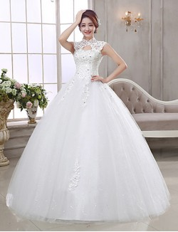 Ball Gown Wedding Dress Long Floor Length High Neck Organza With