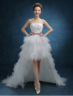 A Line Wedding Dress Asymmetrical Strapless Lace Tulle With Lace