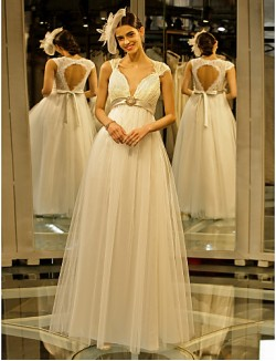 Nz Bride® A Line Wedding Dress Long Floor Length Queen Anne Lace Tulle With Crystal Floral Pin Lace Sash Ribbon