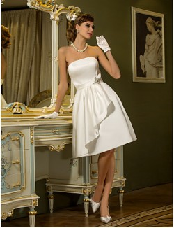 Nz Bride® Trapèze Petites Tailles Grandes Tailles Robe De Mariage Chic Moderne Réception Petites Robes Blanches Mi LongSans