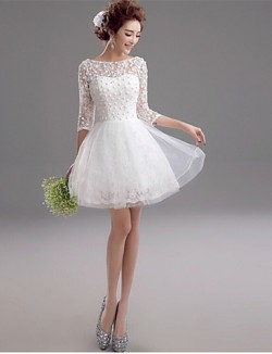 A Line Wedding Dress Short Mini Bateau Lace With