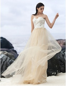 Nz Bride® A Line Wedding Dress Wedding Dresses In Color Sweep Brush Train Sweetheart Lace Tulle With