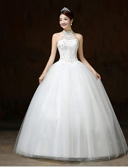 Ball Gown Wedding Dress Long Floor Length Halter Lace Satin Tulle With Sequin