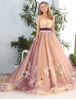 Princess Wedding Dress Cathedral Train Strapless Lace Tulle WithRuche Ruffle Sash Ribbon Appliques Beading Bow Crystal
