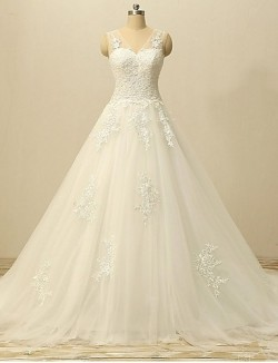 A Line Wedding Dress Court Train V Neck Lace Tulle With Appliques Lace