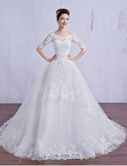 Ball Gown Wedding Dress Court Train Scoop Tulle With Lace Beading