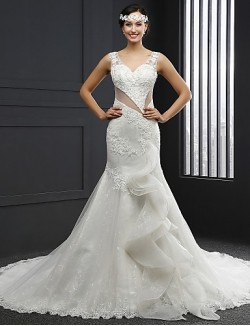 Trumpet Mermaid Wedding Dress Chapel Train V Neck Lace Tulle With Appliques