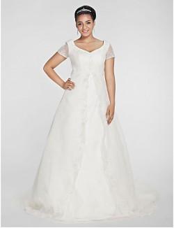 Nz Bride® A Line Princess Petite Plus Sizes Dresses Wedding Dress Classic Timeless Fall 2013 Chapel Train V Neck Organza With
