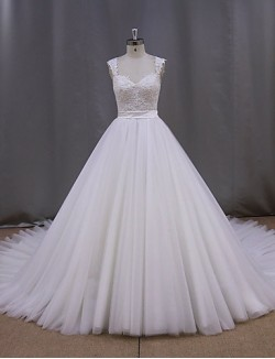 Ball Gown Wedding Dress Court Train V Neck Tulle With Appliques Beading Sash Ribbon