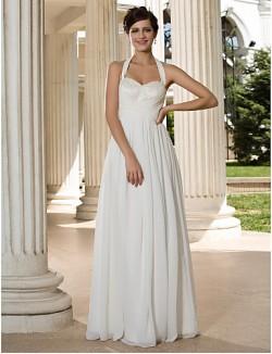 Nz Bride® A Line Petite Plus Sizes Dresses Wedding Dress Classic Timeless Chic Modern Long Floor Length Halter Chiffon WithSequin
