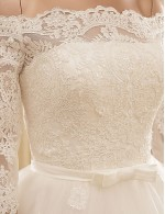 2017 A Line Wedding Dress Chapel Train Off The Shoulder Lace Tulle With Appliques Lace Sash Ribbon