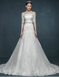 A Line Wedding Dress Court Train Off The Shoulder Tulle With