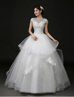 Ball Gown Wedding Dress Court Train Jewel Lace Tulle With Appliques Beading Bow