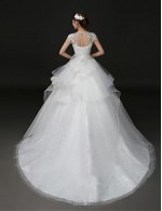 2017 Ball Gown Wedding Dress Court Train Jewel Lace Tulle With Appliques Beading Bow