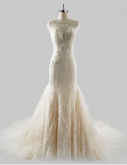 Fit Flare Wedding Dress Court Train Jewel Lace Tulle With Beading