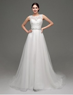 A Line Wedding Dress Chic Modern Glamorous Dramatic Lacy Looks See Through Wedding Dresses Court Train Jewel Lace Tulle With