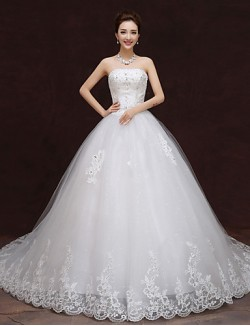Ball Gown Wedding Dress Chapel Train Strapless Tulle With Lace Ruffle