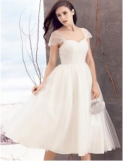 Nz Bride® A Line Wedding Dress Tea Length Queen Anne Tulle With Criss Cross