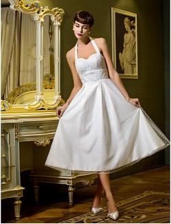 Nz Bride® A Line Princess Petite Plus Sizes Dresses Wedding Dress Spring 2014 Tea Length Halter Tulle With