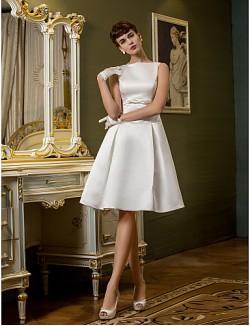 Nz Bride® A Line Petite Plus Sizes Dresses Wedding Dress Spring 2014 Short Knee Length Bateau Satin With