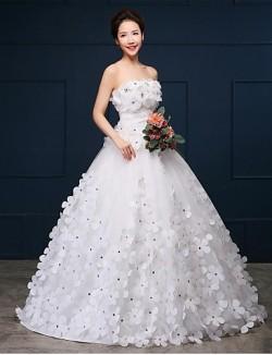 Ball Gown Wedding Dress Chapel Train Strapless Organza Satin With Flower