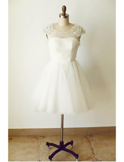 A Line Wedding Dress Short Knee Length Scoop Tulle With Beading Flower Lace