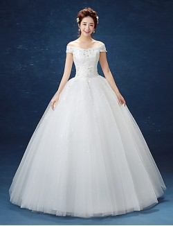 Ball Gown Wedding Dress Long Floor Length Off The Shoulder Lace Satin Tulle With Lace