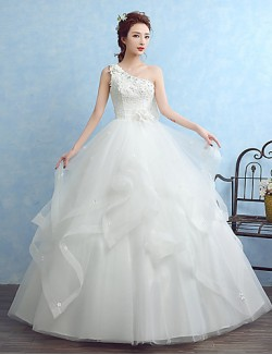 Ball Gown Wedding Dress Long Floor Length Sexy One Shoulder Tulle With Appliques