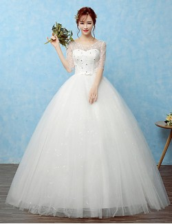 Ball Gown Wedding Dress Long Floor Length Scoop Lace Satin Tulle With Beading Bow Lace