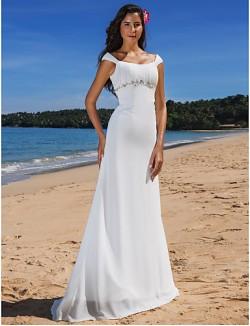Nz Bride® Sheath Column Petite Plus Sizes Dresses Wedding Dress Chic Modern Glamorous Dramatic Sweep Brush Train Scoop Chiffon