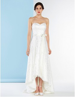 Nz Bride® A Line Wedding Dress Asymmetrical Sweetheart Lace With Lace
