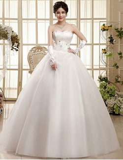 Ball Gown Wedding Dress Sweep Brush Train Long Floor Length Sweetheart Tulle With
