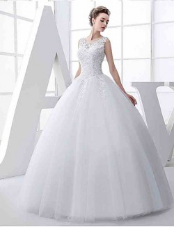Ball Gown Wedding Dress Long Floor Length Jewel Tulle With Appliques Beading