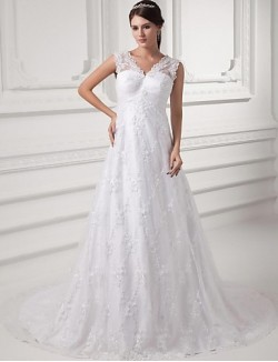 A Line Wedding Dress Court Train V Neck Lace Satin With Lace Ruche