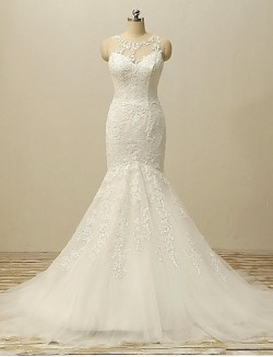 Fit Flare Wedding Dress Court Train Jewel Lace Tulle With Appliques Beading Button Lace