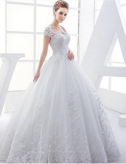 Ball Gown Wedding Dress Long Floor Length Queen Anne Satin Tulle With Appliques Beading
