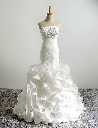 2017 Ball Gown Wedding Dress Court Train Strapless Organza With Beading Flower
