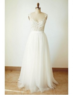 A Line Wedding Dress Long Floor Length V Neck Tulle With Appliques Button Sash Ribbon