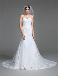 Nz Bride® Trumpet Mermaid Wedding Dress Court Train Sweetheart Tulle With Appliques