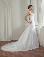 2017 A Line Wedding Dress Court Train Strapless Satin With Appliques Beading