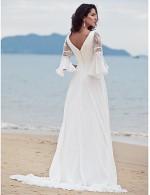Nz Bride® A Line Petite Plus Sizes Dresses Wedding Dress Classic Timeless Chic Modern Court Train V Neck Chiffon With Lace