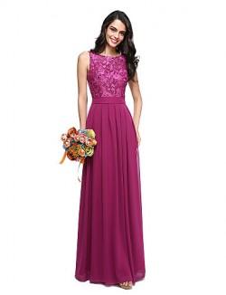 Long Floor Length Chiffon Lace Bridesmaid Dress Beautiful Back A Line Jewel With Sash Ribbon