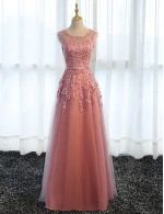 Long Floor Length Lace Dress Tulle Bridesmaid Dress Sheath Column Scoop With Appliques
