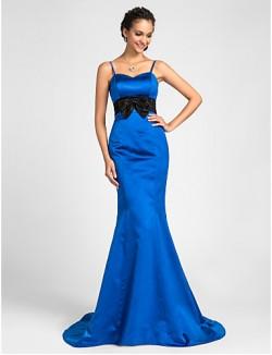 Sweep Brush Train Satin Bridesmaid Dress Trumpet Mermaid Sweetheart Spaghetti Straps Plus Size Petite WithBow